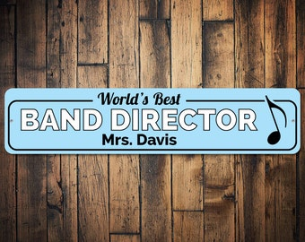 Band Director Sign, Music Teacher Name Sign, Custom Teacher Gift, Music Lover Gift, Music Note Decor Metal - Quality Aluminum ENS1002556