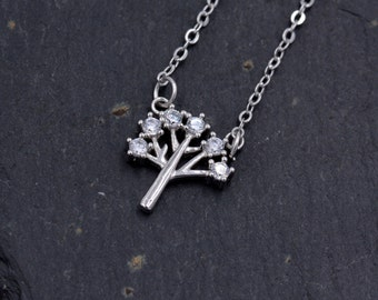 Sterling Silver Little Tree Pendant Necklace with Sparkly CZ Crystals 18''  z99