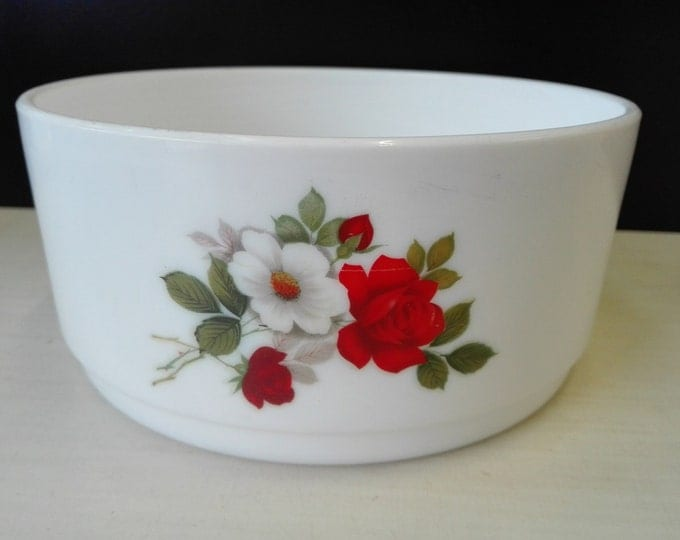 Arcopal, White and Red Rose, bowl, 17 centimeter