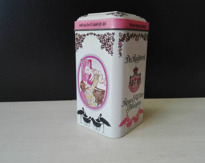 DAS rosé and white sprinkles, vintage tin