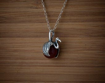 STERLING SILVER Crane Bird with Gem Sphere - Chain Optional