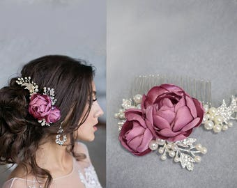 Bridal wedding hair piece, bridal hair accessory, wedding hair flower, bridesmaid hair clip in white