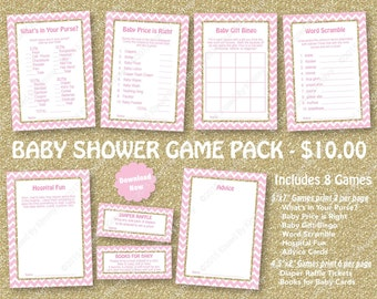 Pink Gold Glitter Baby Shower Game Pack - 75% Off - PRINTABLE Princess Girl Baby Shower Games- 8 Pack - PPink Gold - Diaper Raffle 20-G43