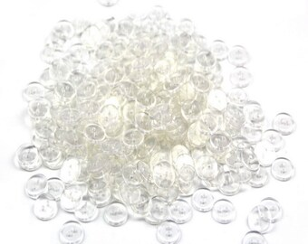 Pack of 100 Clear Delicate Plastic Round Buttons 2 Holes,Approx 12mm,Hole size 1mm Thickness:2mm(CTJZ21-R07D)