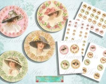 Summer Lady...4 Vintage Prints für Cabochon, Schmuckherstellung, Collage, Magnete, scrapbook,Decoupage , 2,5 cm, 4cm, 6cm, 8cm, druckbar