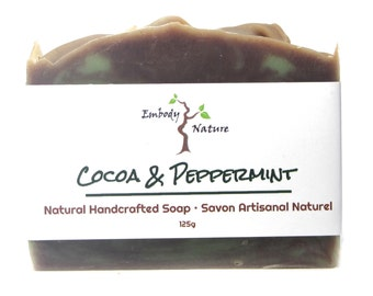 Cocoa & Peppermint Soap, All Natural Soap, Peppermint Soap, Chocolate Soap, Cold process soap