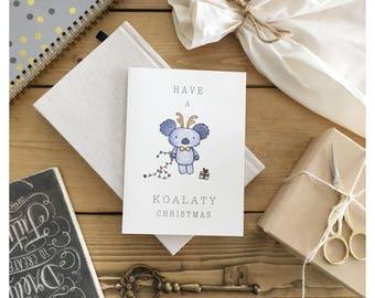 KOALA CARD // christmas card, funny christmas card, holiday card, funny holiday card, christmas pun, koala, koala bear, punny, pun card, pun