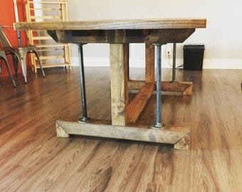 Industrial Farmhouse Dining Kitchen Table - Original Style We Created - Ships Everywhere (Indiana, Ohio, New York, Chicago, Illinois)
