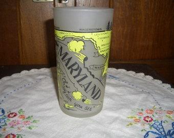 Vintage Hazel-Atlas Frosted State of Maryland Souvenir Tumbler