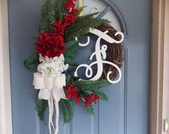 Red and White Grapevine Wreath, Holiday Wreath, Christmas Wreath, Monogram Wreath, Winter Wreath, Welcome Wreath, Door Wreath, Burlap Wreath