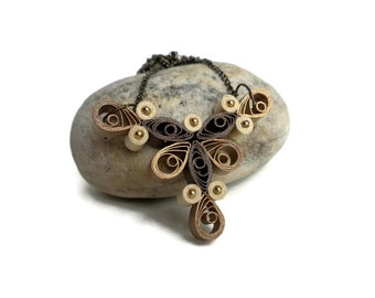 Simple necklace - Elegant necklace - Quilling jewelry - Brown and gold necklace - Unusual jewelry - Bride's maid necklace - Quilled jewelry