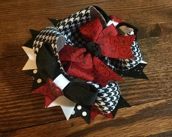 Red/Black Heart Over The Top Hair Bow