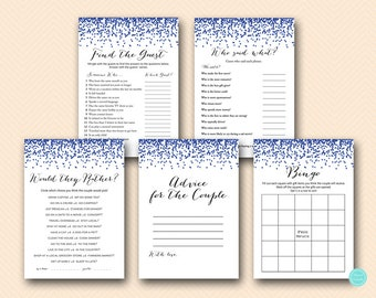 Gay Wedding Shower Games Package, Instant Download, Instant download, Grooms shower games, Navy Confetti Gay couple shower games BS408