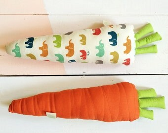Tina Carrot Plush Toy - Handmade Pillow - Stuffed Cushion - Vegetable Toy