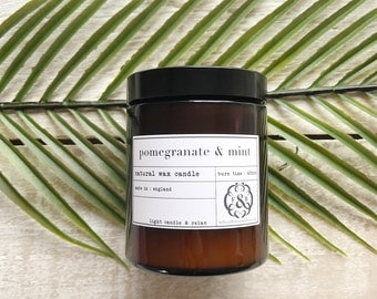 Pomegranate & Mint Pharmacy Jar, Scented candle, Natural Wax Candle, Made in England, Hand Poured