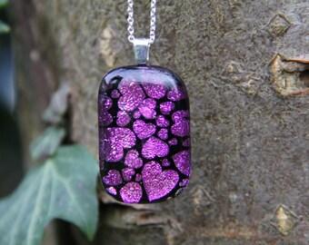 Pink heart dichroic glass pendant, dichroic glass necklace, fused glass, heart fused glass pendant, dichroic necklace , pink heart dichroic,