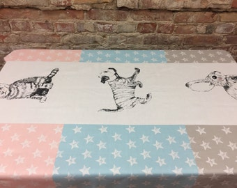 White tablecloth with dog, cat, rabbit blue, pink, grey with white stars, selebration tablecloth, Scandinavian design