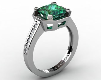 Modern Russian 14K White Gold 2.0 Ct Princess Emerald Diamond Engagement Ring R1106-14KWGEM