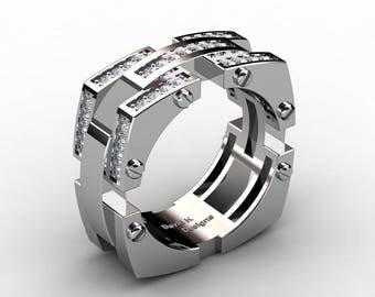 Mens Modern 14K White Gold Diamond Band Ring R1138-14KWGD
