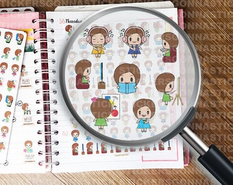 78 Fun and Relax Stickers | 'Poppy' Series | Original Kawaii Character | Ideal for planners, calendars, journals, scrapbooks and more