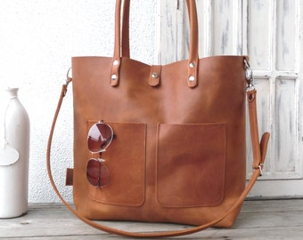 Leather tote, large leather tote, big leather tote, leather tote woman, leather tote women, modern laptop bag, Enie frontpocket - cognac!