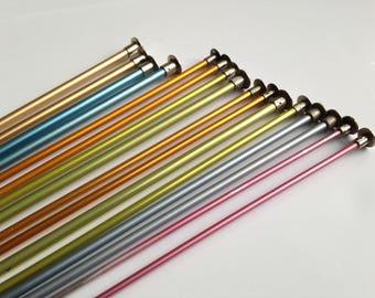 Vintage Knitting Needles, 8 Pairs, Aluminum Needles, Multiples Size 2, 4, 5, 8, 9