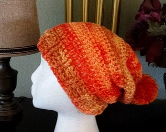Burnt Orange Shades Crocheted Slouchy Hat
