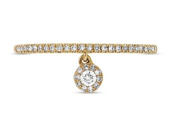 0.16CT 14K Yellow Gold Dangling Diamond Dainty Band Ring, Hanging Diamond Ring