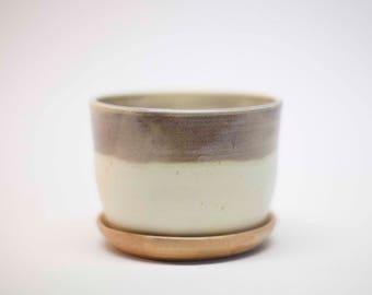 stoneware planter, earthenware planter, pot with holes, ceramic planter, wheel thrown planter, yellow planter, ceramic pot