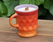 Retro Milk Glass Coffee Mug Soy Candle - Tropical Citrus Scent