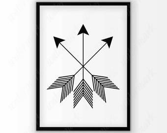 Black arrow art print Digital wall art Black and white poster Printable home decor Instant Download