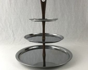 Three Tiered Tray-Chrome And Wood-Mid Century Design Tiered Trays-Vintage Serving Trays