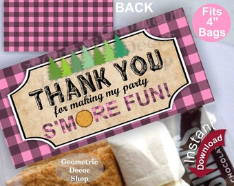 Printable Treat Bag toppers Lumberjack Birthday Party First Lumber Jack Pink Plaid Girl Thank you s'more Instant Download Woodland TBLJ5