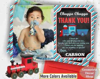 Train Thank You Card - Train Birthday Thank You Card / Red Blue / Boy Birthday Party Photo Photograph Chalkboard THT6