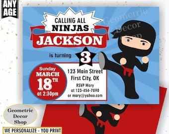 Ninja Birthday Invitation Boy American Ninja Invitations Red Blue Invites Blue Red Black Invite BDN2