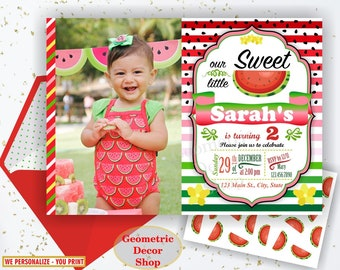 Watermelon Birthday invitation, one in a melon, summer, printable watermelon invite, invitations, red, green, pink, photo, photograph BDW8