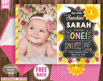 Sunshine Birthday Party Invite Sunshine First Birthday Invite You are my Sunshine Pink Yellow Digital PRINTABLE Photo Photograph BDS6
