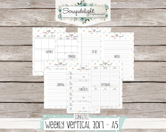 Scrapdelight Planner Kit 2017 - Confetti - A5 Weekly Vertical
