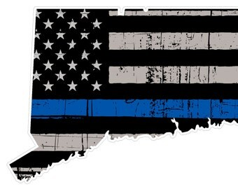 Connecticut State (V9) Thin Blue Line Vinyl Decal Sticker Car/Truck Laptop/Netbook Window