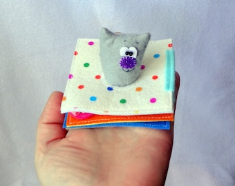 Mini soft book, quite book, soft toy, busy book, gift for baby, gift for kids, baby book, cute gift, little kitten