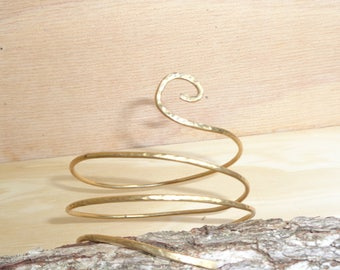 Boho arm cuff,Gold Armlet ,Armband Upper Arm Jewelry,spiral shape made of brass,Copper ,german silver  wire.