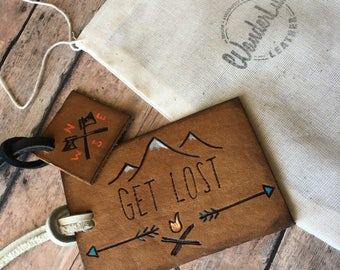 Luggage tag gift, leather luggage tags, graduation gift, adventurer gift, luggage tags