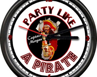 Captain Morgan Rum Party Like A Pirate Bar Tavern Bartender Alcohol Costume Sign Wall Clock
