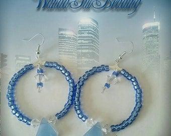 Blue and Crystal Beaded Hoop Earrings