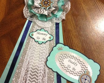 Nautical Theme Baby Shower/ Elegant Mommy-Daddy To Be Corsage/ Teal Navy Blue and Gray Pin/ Anchor Mommy To Be Sash/ Original Rudder Corsage