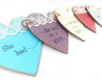 Mini wooden bunting, 'She had the soul of a gypsy, the heart of a hippy and the spirit of a fairy'