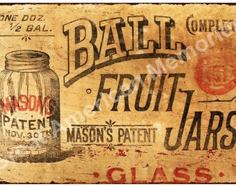 Ball Fruit Jars Vintage Look Reproduction Metal Sign 8x12 8122251