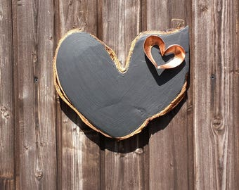 Wooden heart chalkboard with copper heart accent, copper home decor, rustic kitchen decor, unique gift,