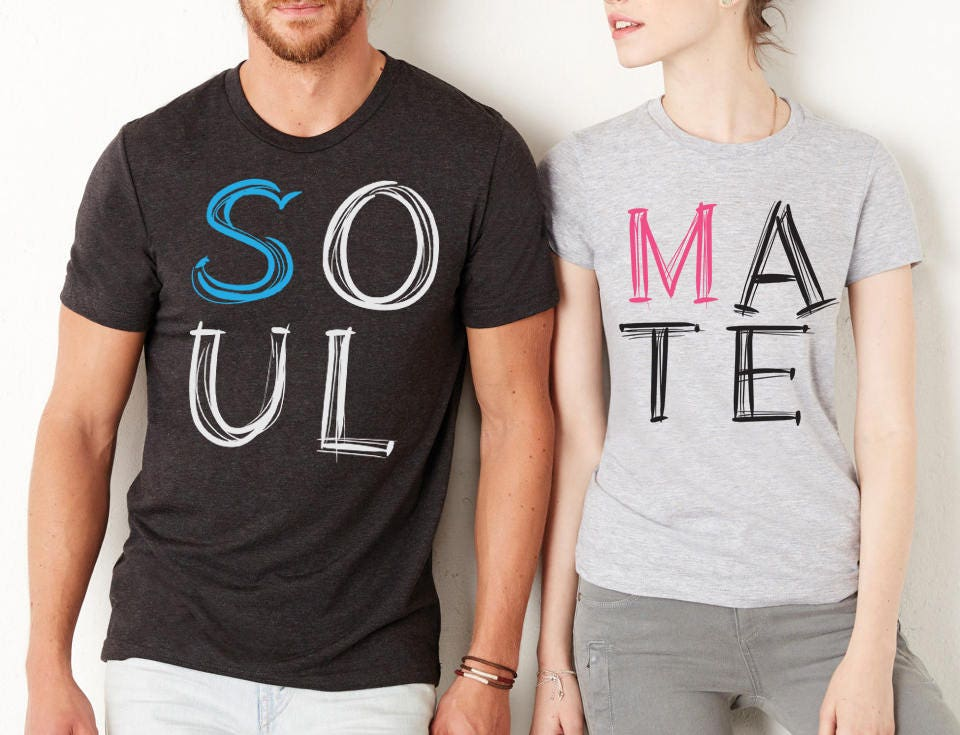 Couples shirts soul mate shirts couples t shirts king for Couple printed t shirts india