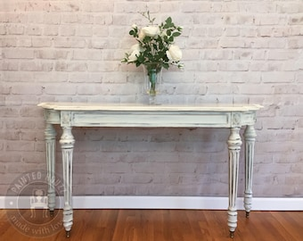 SOLD - Bombay Refinished Shabby Chic White Console Sofa Table